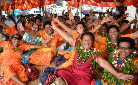 Women from the province of Kadavu enojying themselves during their fundraising day at the Suva foreshore yesterday. Picture: JOVESA NAISUA